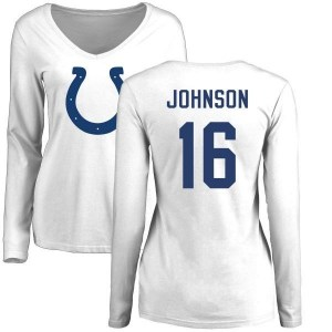 Marcus Johnson Indianapolis Colts Women's White Name & Number Logo Slim Fit Long Sleeve T-Shirt -