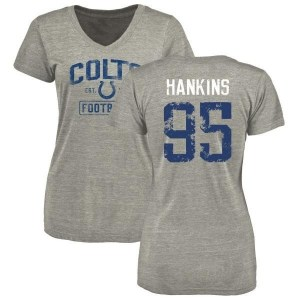 Johnathan Hankins Indianapolis Colts Women's Gray Heather Distressed Name & Number Tri-Blend V-Neck T-Shirt