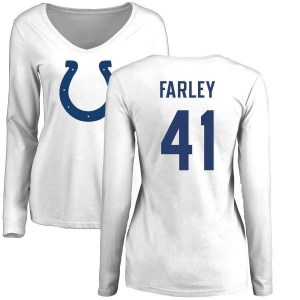 Matthias Farley Indianapolis Colts Women's White Pro Line Name & Number Logo Slim Fit Long Sleeve T-Shirt -