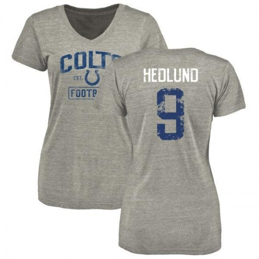 Cole Hedlund Indianapolis Colts Women's Gray Heather Distressed Name & Number Tri-Blend V-Neck T-Shirt