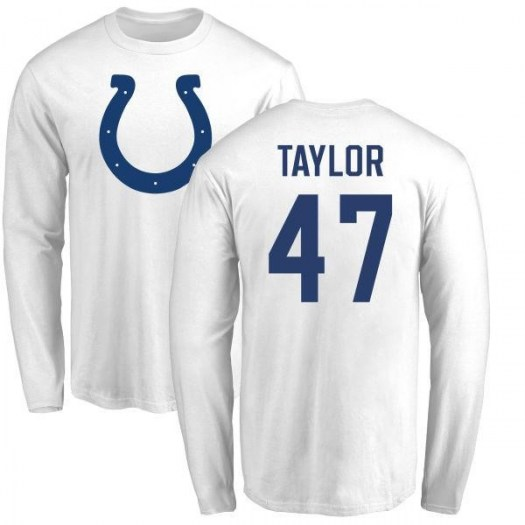 Shakial Taylor Indianapolis Colts Men's White Name & Number Logo Long Sleeve T-Shirt -